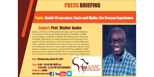 Presentation by Prof Walter Jaoko on Covid-19 vaccines: Facts and Myths, the Kenyan Experience
