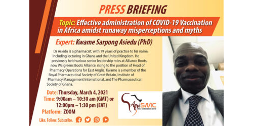 Dr Kwame Asiedu presentation on effective administration of Covid-19 in Africa amidst misinformation and myths.